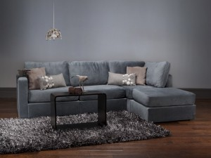 Four Cushion Chaise Sectional with Seawater Rhinoplush Covers