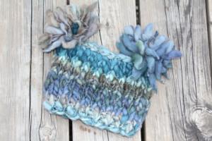Toddler Hat - Stoney Blue Chunky Pom-Pom Hat for Toddler - knitbysarah - stitches by sarah