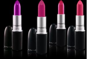 purple and pink mac lipsticks on maegal