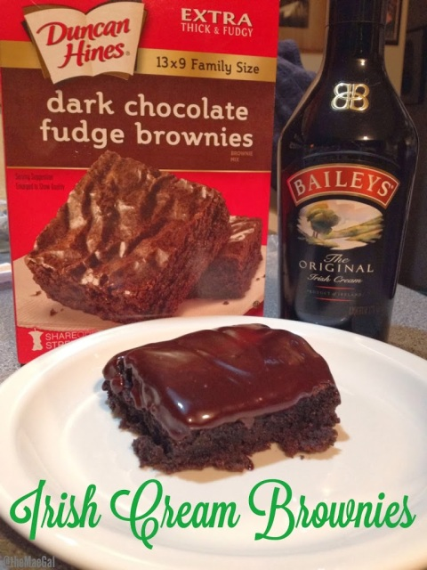 Dark Chocolate Irish Cream Fudge Brownies | maegal.blogspot.com
