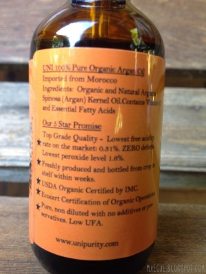 UNI 100% Pure Organic Argan Oil | maegal.blogspot.com