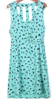 Green Round Neck Sleeveless A Line Birds Print Dress
