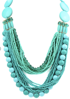 Green Multilayers Bead Necklace