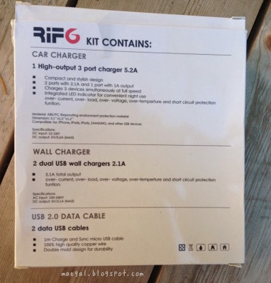 Rif6 Car and Wall Charger, USB 2.0 Data Cables | maegal.blogspot.com